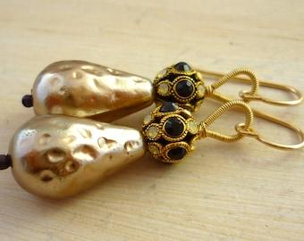 Vintage taupe rhinestone ball & glass pearl drop earrings.