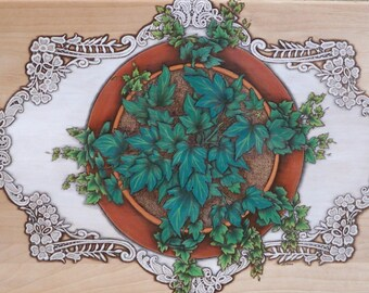 Ivy and lace wooden entry table, woodburned table, unique table, trompe l'oeil art on wooden table for foyer