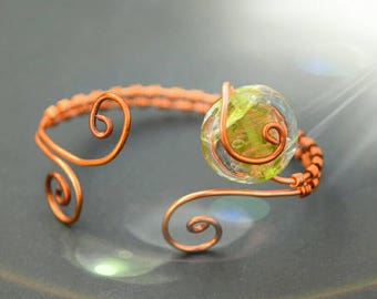 Spiral silver plated or copper cuff bracelet with glass disc focal