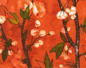 Michael Miller Fabric Cherry Bloom in Apricot 1/2 Yard from the Vignette Collection by Laura Gunn