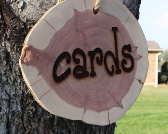 Wedding Cards Sign, Hanging, for cards basket with rustic cedar wood slice, for barn, country, garden, woodland wedding, party, event