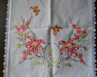 "Red Lily Butterfly and Spring Flowers on Vintage Hand Embroidered Dresser Scarf Lovely Lace Edge Rectangular 32"" by 12"""