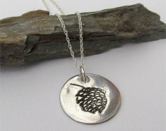 Silver Pinecone Necklace, Woodland Charm, Pinecone Pendant