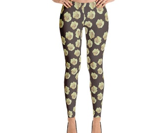 antique flowers brown Leggings
