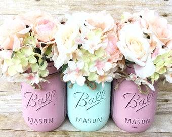 Set of 3 Hand Painted Mason Jars, Mint Mason Jars, Bridal Shower, Home Decor, Wedding Centerpieces, Babyshower Decor, Nursey Decor, Aqua!