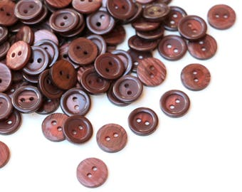 10 Brown Buttons Round Buttons 2 Holes 15mm