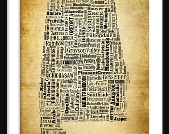 Alabama State Map Alabama City Cities Typography Grunge Map Poster Print