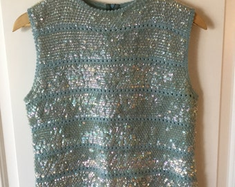 Vintage 1950's sequin sweater, sequined top, sequin shirt, shimmied crop top, blue sequins, sleeveless, handmade