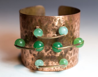 Adjustable Copper Bracelet Cuff with Green Aventurine and Chrysoprase