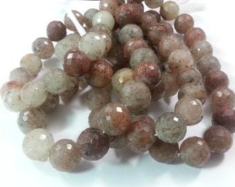12mm Berry Quartz Faceted Balls, 7.75 inch