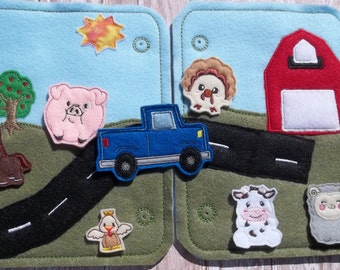 Road to Farm Busy Pages w Truck w animals Busy Board Felt Board Farm Road Busy Bag Busy Page Portable Felt Page to create your own busy book