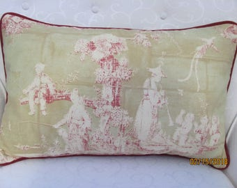 Historic Winterthur Museum Toile Pillow Cover with Cording