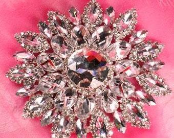 """TS49 Silver Crystal Clear Rhinestone Applique Embellishment 4.25"""" (TS49-slcr)"""