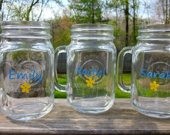 Handled Mason Jar| One Name/Word and Flower | Great for Country Weddings