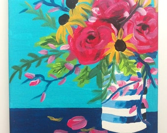 Floral Bouquet Original Painting 8 x 10, Navy and Fushia Flower Acrylic Art