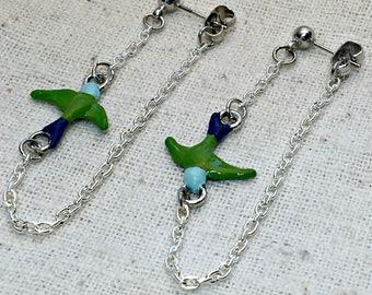 Bird earrings, trendy earrings, on trend earrings, bird dangles, bird jewelry, swallow bird, gift for bird lovers, bird watchers, graceful