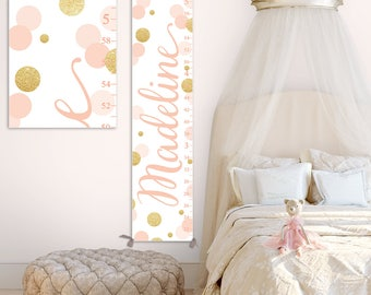 Blush and Gold Growth Chart - Gold and Blush Nursery Decor, Personalized Canvas Growth Chart, Toddler Gift  - GC2037BH