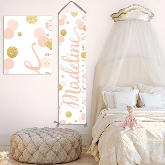 Growth Chart Girl - Gold and Blush Nursery Decor, Gold Nursery Decor, Blush Pink Nursery, Blush Nursery Decor, Heigh Chart  - GC2037BH