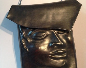 "Leather Purse ""Pursona"" Face Bag ""Second"", by Einbender Studios in Black"