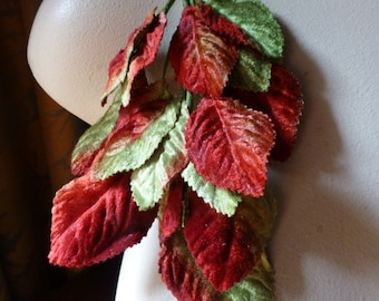 Red & Green Velvet Leaves for Bridal, Boutonnieres, Corsages, Masks, Millinery ML 89