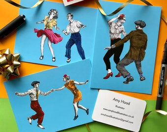 Lindy Hop/Swing Dance x3 A6 Postcard set, Swing Out, Swivels, Tacky Annies, illustrated postcards