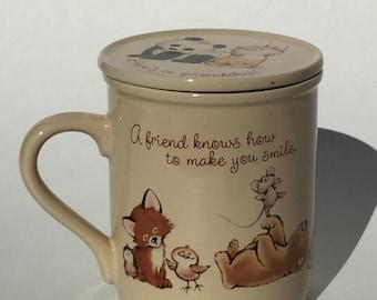 Vintage Hallmark Mug Mates Lidded Mug 1983 Woodland Critters