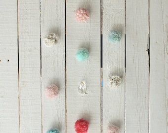 Vintage Sparkle Wall Hanging / Mobile - white, silver, blush, mint, pink pom poms with vintage crystal