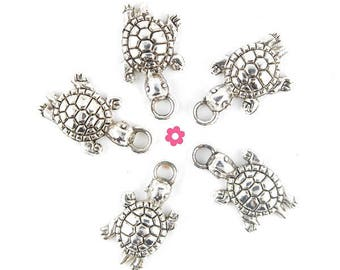 x 6 24x13mm silver turtle charm (198D)