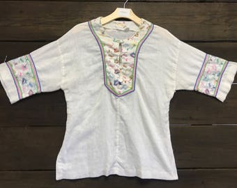 Vintage 60s Embroidered Blouse