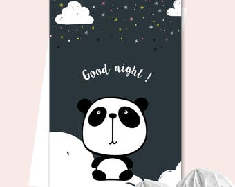 Poster A3 little Panda - Good night!