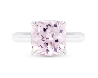 Pink Sapphire Ring - Cushion Cut Light Pink Sapphire Solitaire Ring - Morganite Pink Ring - Peach Sapphire - Light Pink Saphire Ring