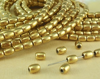 10 Brass Metal Beads Oval Rice 4mm x 6mm Plain Spacer Bracelet Earring Necklace Jewelry making Stringing Supplies