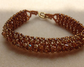 Beaded Swarovski Crystal Bracelet-Gold/Orange-8 in.