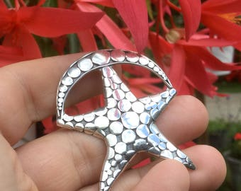 Boho Star Moon Brooch - Vintage Sterling Silver Celestial Pin