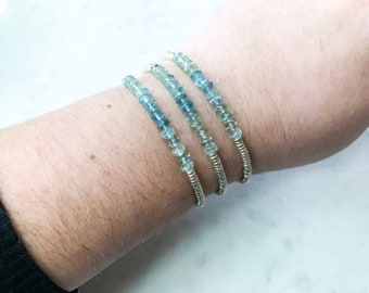 Beaded Ombre Aquamarine Bracelet in Silver
