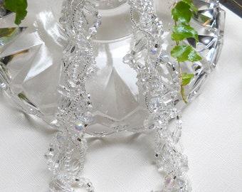 Clear Crystal necklace, Swarovski Crystal, Ice, Custom, bridal, multi strand, wedding, statement, evening, freeform, twisted, woven: