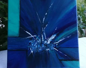 Shards of Glass / Abstract Painting  / Modern Art / Acrylic Painting / Original / Wall Art / Room Art / Black, White, greens, Blues / 12x12
