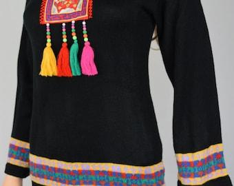 Nos Vintage 1970's Melange Embroidered Bird Beaded Tasseled Knit HiPPiE BoHo Tunic Sweater Size S M