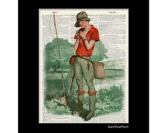 Girl Fly Fishing - Vintage Dictionary Art Print - Dictionary Page - Book Art Print No. P403