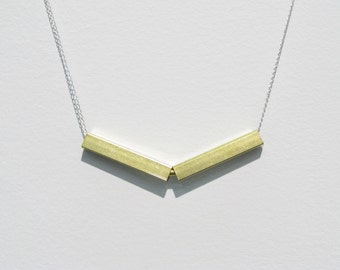 Brass Chevron Necklace on delicate sterling silver chain