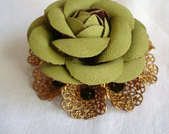 Green suede Camellia flower brooch