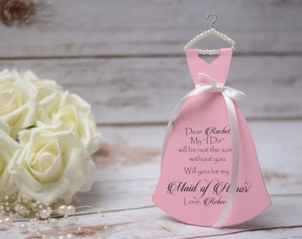 Will you be my Bridesmaid Card in Dress Shape card Maid of Honor Matron of Honor Card Pink Bridesmaid Invitation  Asking Bridesmaid Proposal