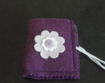 Purple flower needle case or pin case