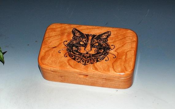 Cat Box - Handmade Wood Box of Cherry- Treasure Box, Cat Gift Box, Trinket Box, Stash Box, Wooden Box, Small Box, Keepsake Box, Kitten Box