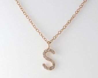 Name Initial Diamond Necklace 14K Solid Gold, Diamond Initial Necklace, Personalized Letter Necklace, Alphabet Charm Pendant,