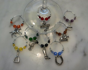 Equestrian Horse Riding Racing Wine Charms set of 8