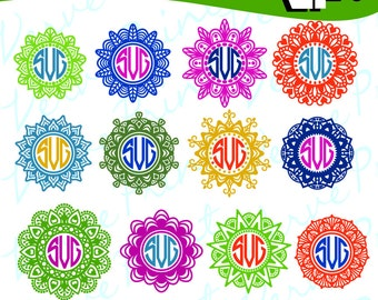Flowers Mandala Svg, Mandala Monogram Svg, Ai, Eps, Pdf, Png Cutting file, Silhouette Clip Art svg Commercial use