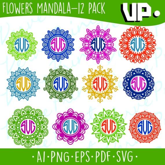 Shop Floral Monograms At Littlebrownnest Etsy Com: Flowers Mandala Svg Mandala Monogram Svg Ai Eps Pdf Png