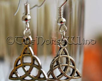 Celtic Knot Earrings Trinity Pagan Earrings Triquetra Viking Earrings Silver Asatru Celtic Jewelry Viking Jewelry Norse