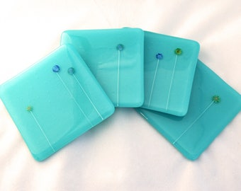 Fused Art Glass Aqua Coasters